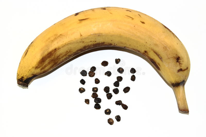 Seeds of banana and banana stock image