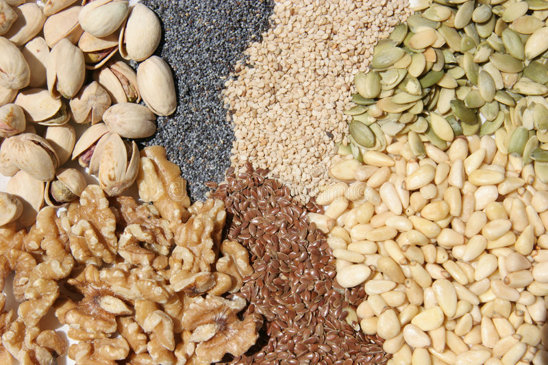 Seeds and nuts royalty free stock images