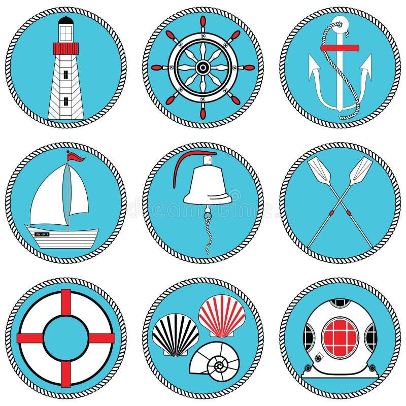 Seeelementtyp- 1ikonen stellten in geknoteten Kreis einschließlich Bootsglocke, Boot, Ruder, Steuer, Weinlesetauchmaske, Rettungs lizenzfreie abbildung