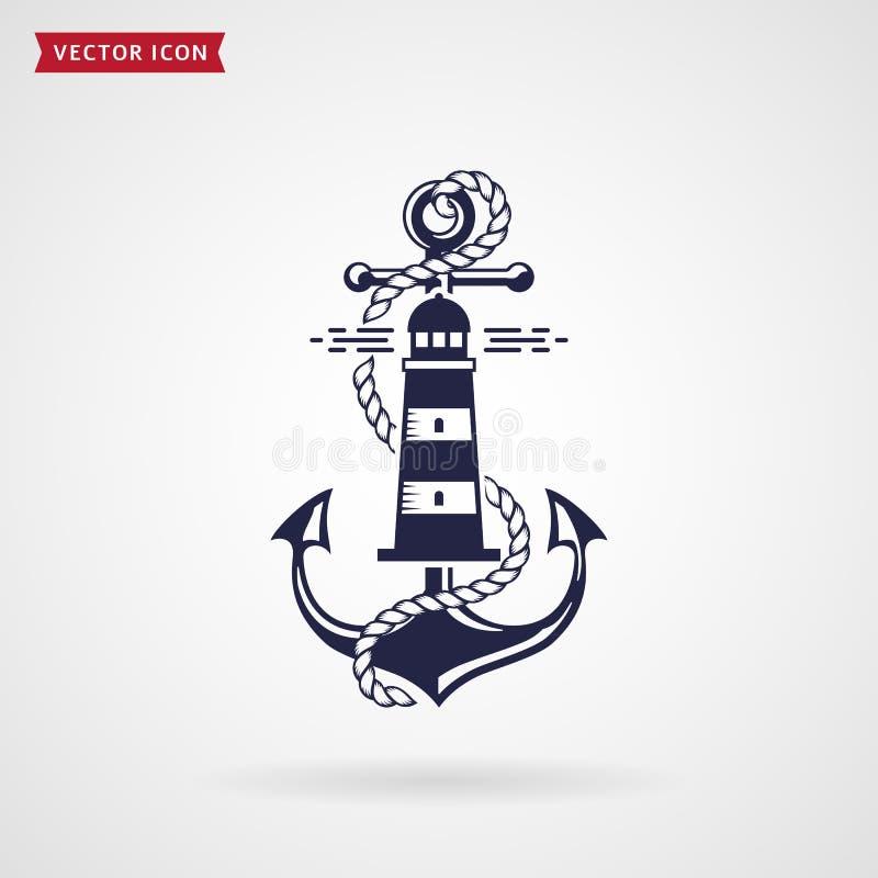 Seeemblem mit Anker, Leuchtturm und Seil stock abbildung