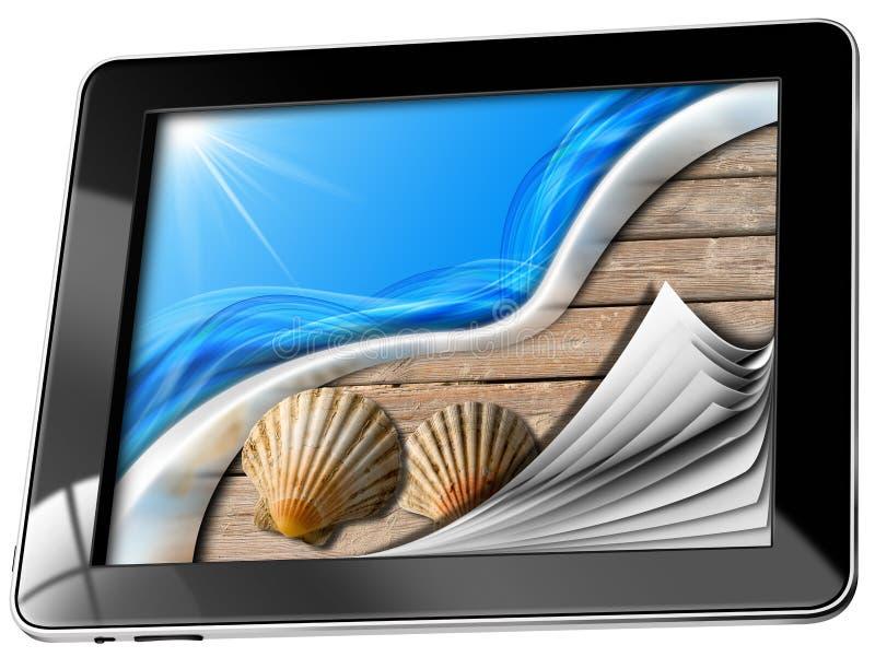 Seefeiertag im Tablet-Computer mit Seiten lizenzfreie abbildung