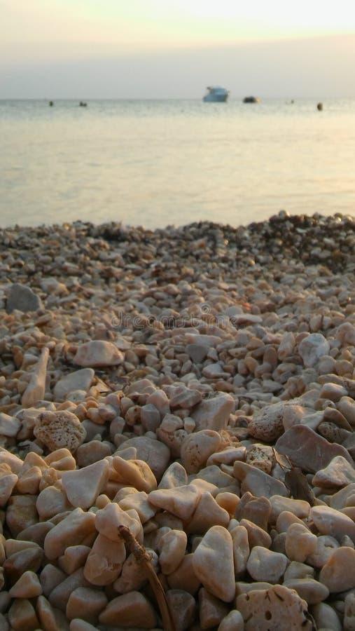 Seefelsen auf dem Ufer am Abend lizenzfreie stockfotografie