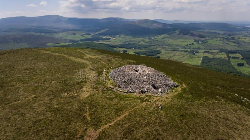 Seefin passage tomb. county Wicklow. Ireland. Aerial view. Seefin passage tomb, Blessington lake at far right. county Wicklow. Ireland stock image