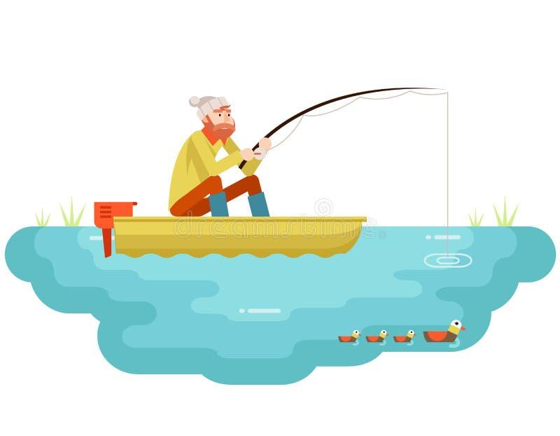 Seefischen erwachsener Fischer mit der Fischerei Rod Boat Birds Concept Character-Ikonen-des flachen Design-Schablonen-Vektors vektor abbildung