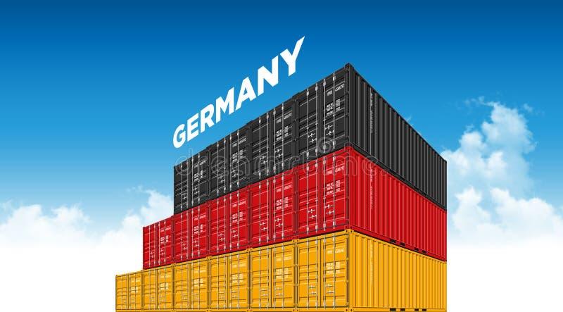 Seefracht-Behälter Deutschland-Flagge für Logistik und Transport mit Wolken stock abbildung