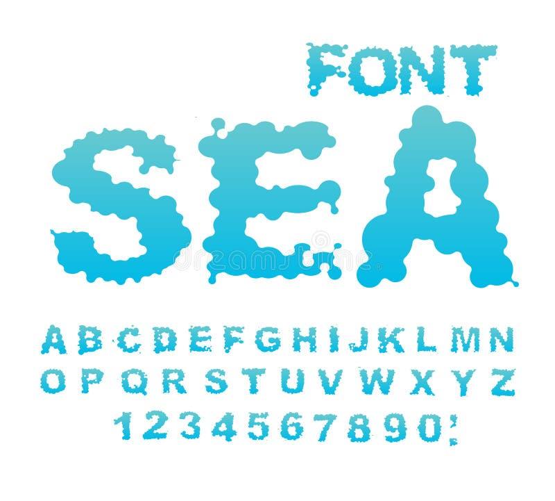 Seeguß Wasser ABC Aquaalphabet Nasse Buchstaben Blauer Klecks lizenzfreie abbildung