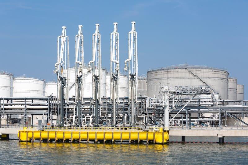 Seehafen mit Umladungsausrüstung für Öltanker lizenzfreie stockfotografie