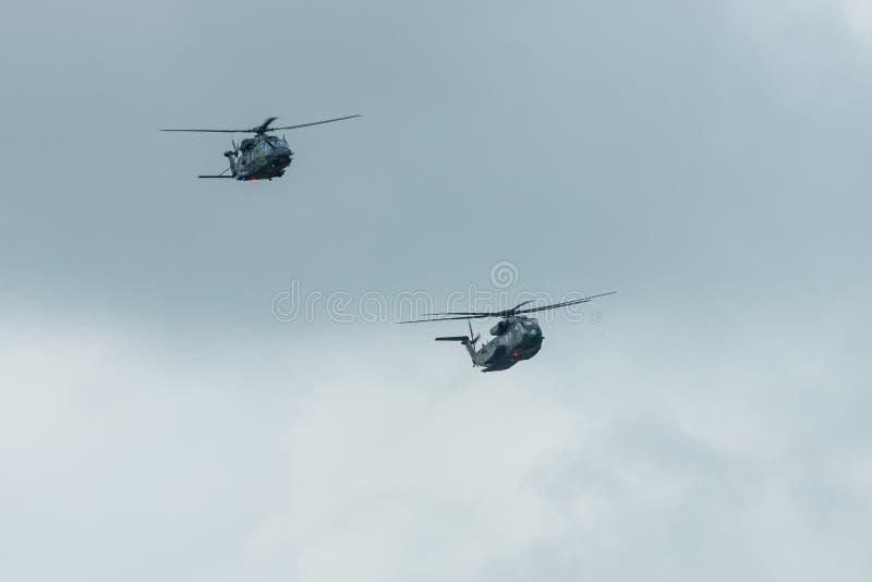 Seehengst und NHIndustries NH90 Schwer-Aufzugfrachthubschrauber Sikorsky CH-53 der deutschen Armee lizenzfreie stockbilder
