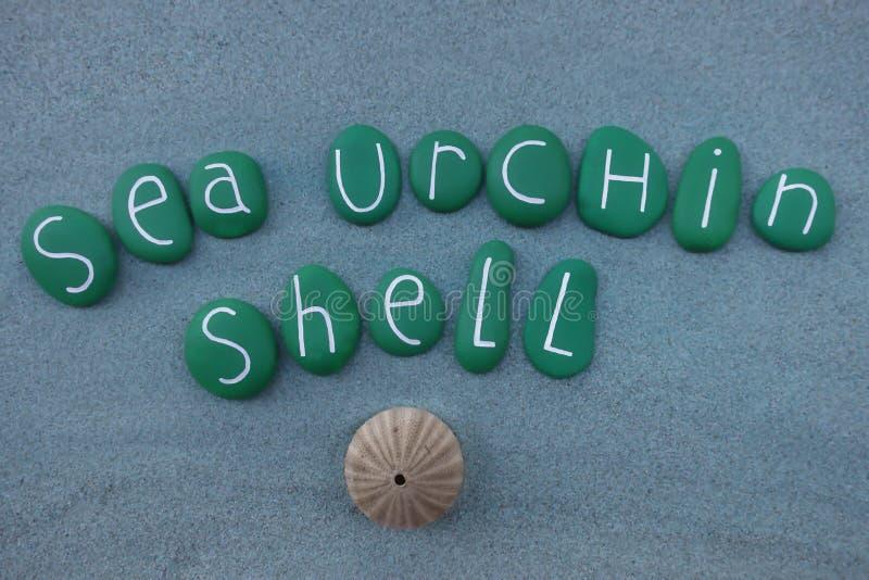 Seeigel Shell nennen verfasst mit Grün farbigen Steinen lizenzfreies stockfoto