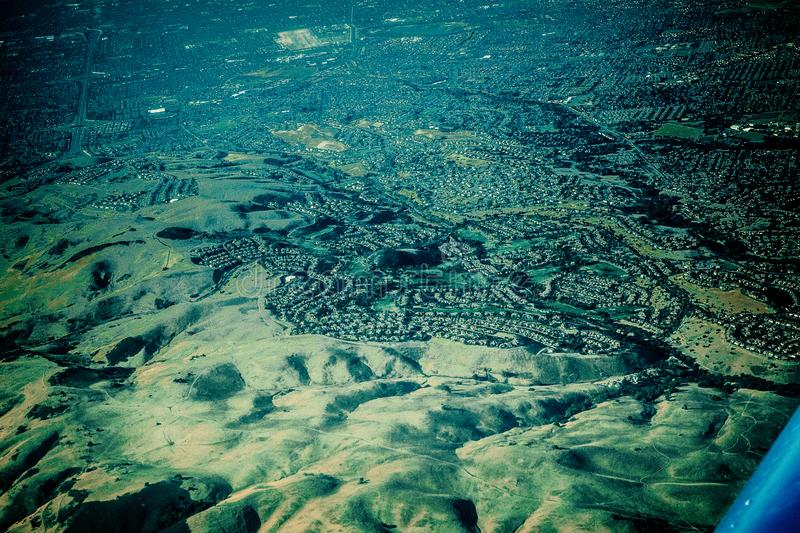 Seeing the californian landscape from above stock photography