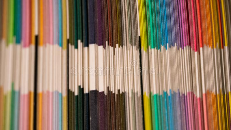 Seeing Double. Macro shot of colour spectrum and colour patterns with white stripe in middle royalty free stock images