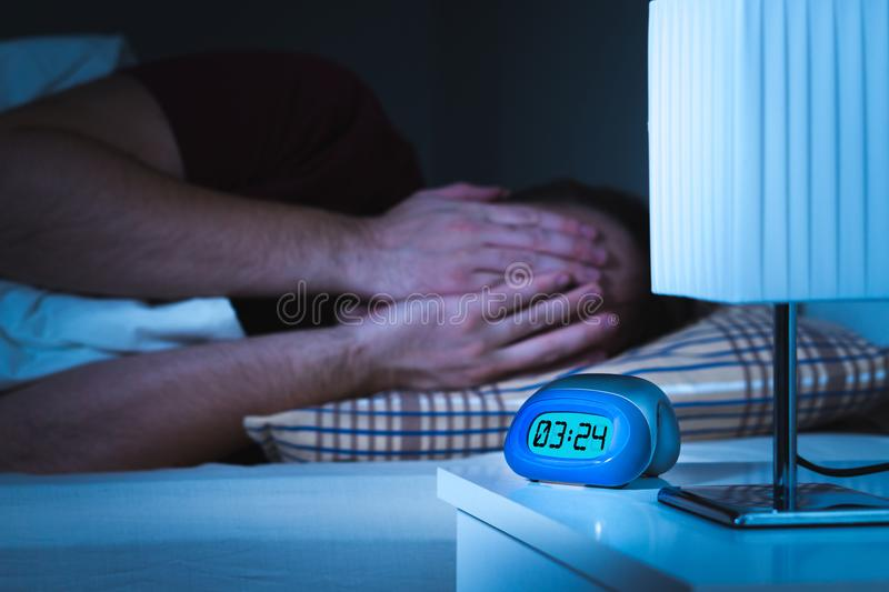Seeing nightmares or bad dreams concept. stock images