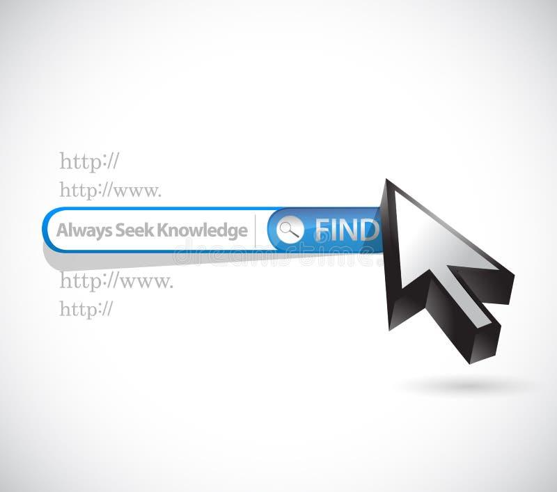 Always seek knowledge search bar sign concept. Illustration design over white stock illustration
