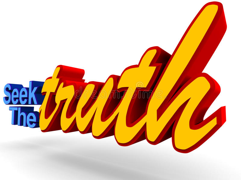 Seek the truth. Word, concept of finding the real truth and not getting deviated by lies vector illustration