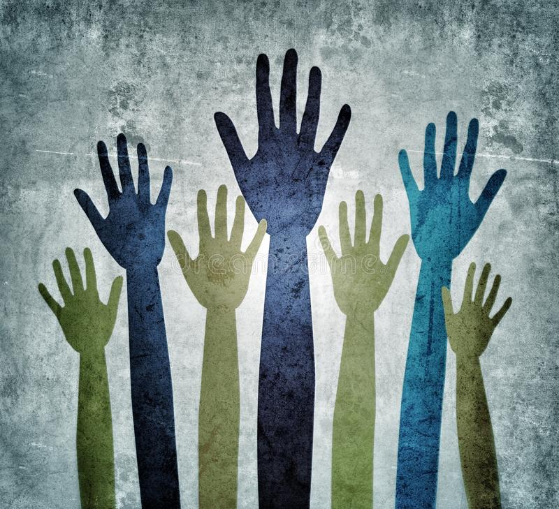 Seeking help Hands reaching out royalty free stock photography