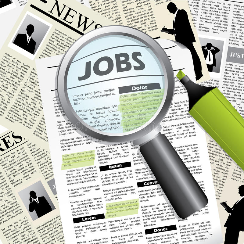 Download Seeking for a job stock vector. Image of current, news - 23243164