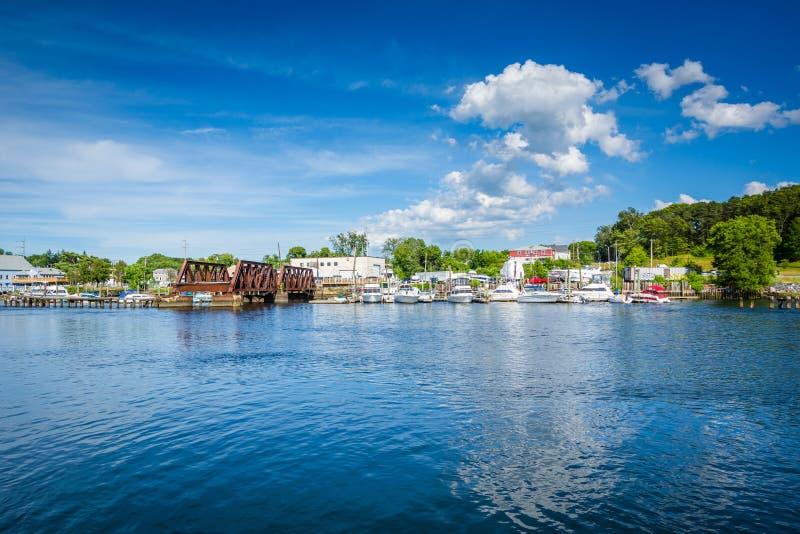 Seekonk河的看法,在上帝,罗德岛州 免版税库存照片