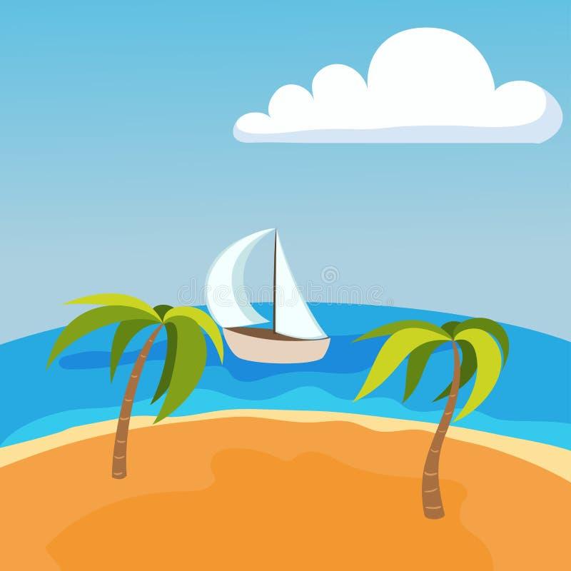 Seelandschaft mit Boot auf des Sommer-Wassers Seychellen Palm Beach schönem Hintergrund und tropischer Schönheitsszene des Touris vektor abbildung