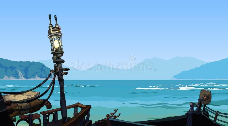 Seelandschaft mit Inselansicht von der Seite des zerstörten Schiffs stock abbildung