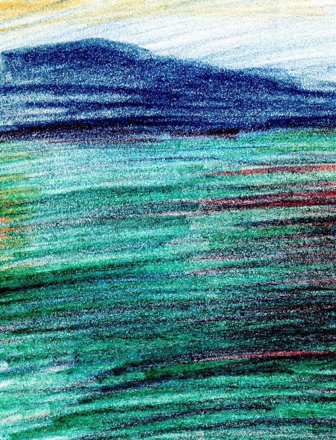 Seelandschaft, Seeseite, Strand, Berge Schöne Handmalereiillustration lizenzfreie abbildung
