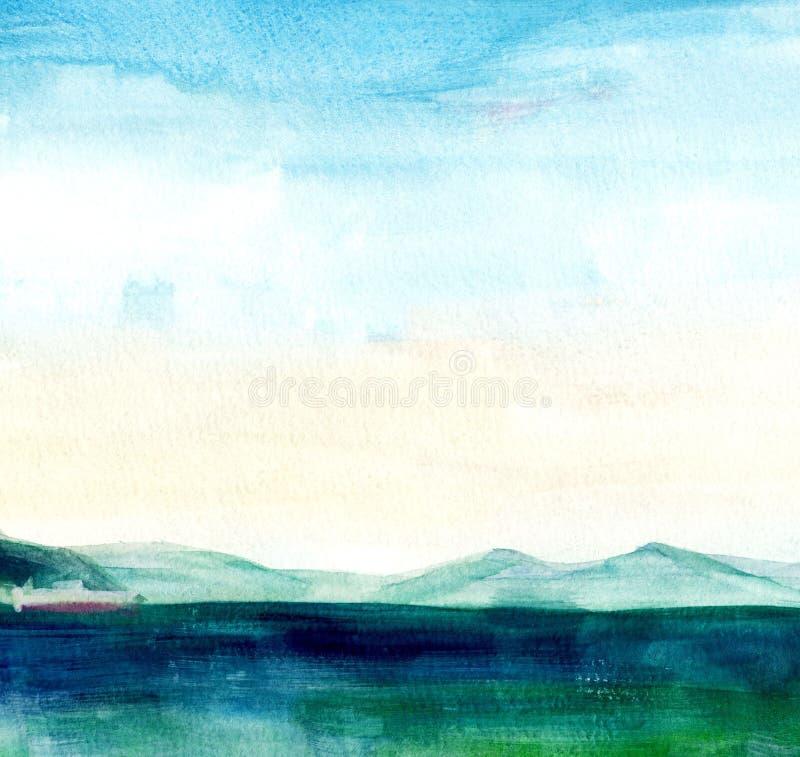 Seelandschaft, Seeseite, Strand, Berge Sch?ne Aquarellhandmalereiillustration stock abbildung