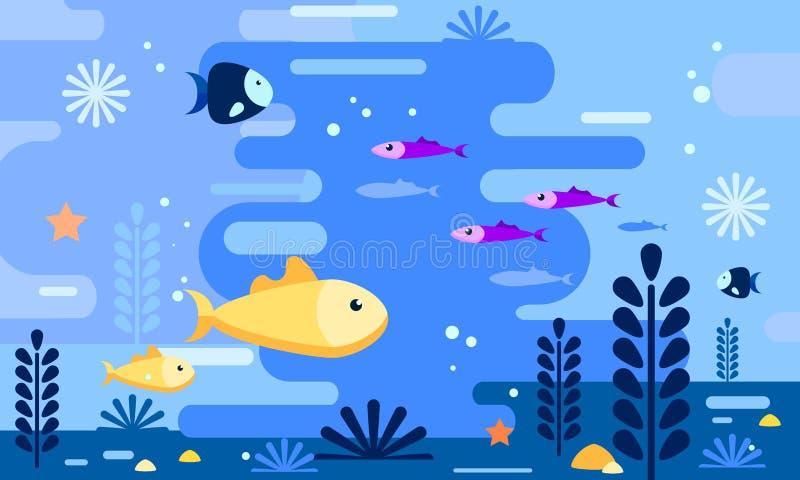 Seeleben in der flachen Art Simulieren der Aquarellzeichnung Goldfische mit deferent Fischen Taube als Symbol der Liebe, pease stock abbildung