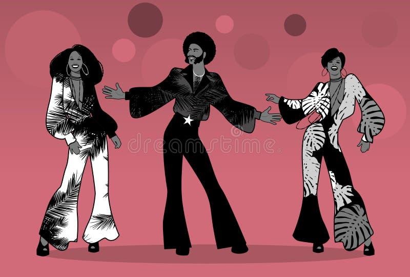Seelen-Partei-Zeit Gruppe Mann und zwei Mädchen, die Seele, riesige Angst oder Disco tanzen vektor abbildung