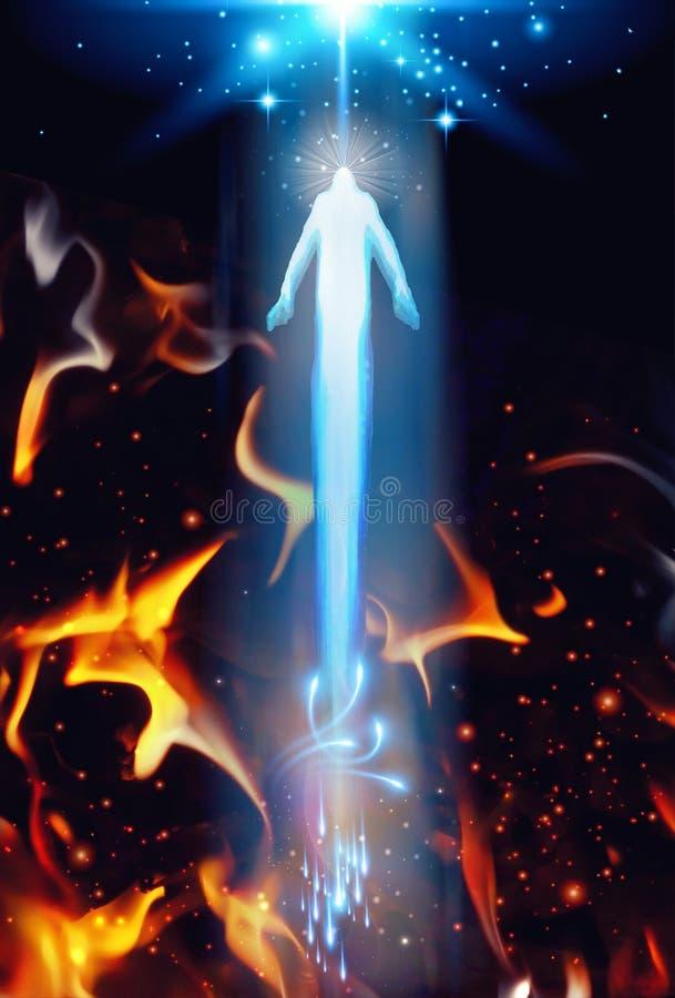 Seelenrettung von der Hölle, Besteigung von Hölle zu Himmel lizenzfreie abbildung