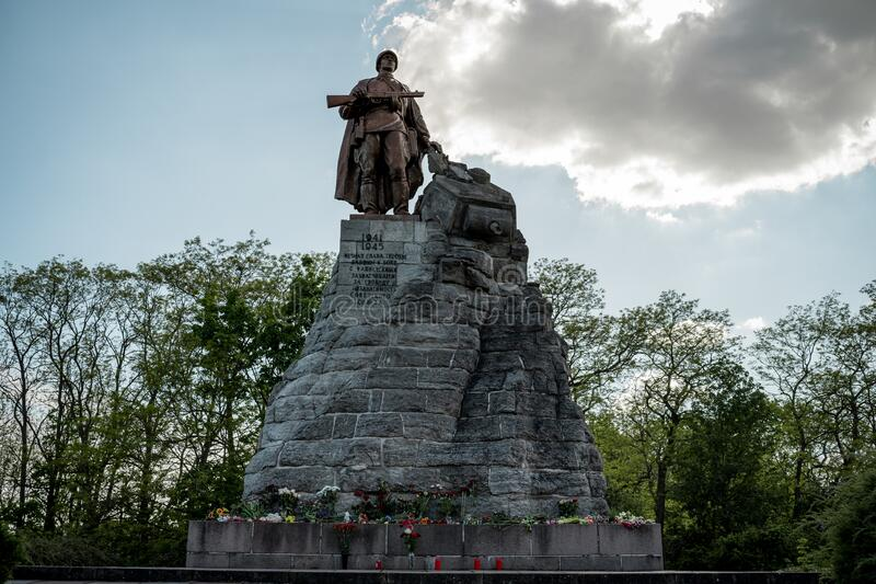 Monument to Soviet soldiers at the site of the Battle of the Seelow Heights. SEELOW, GERMANY - MAY 09, 2020: Monument to Soviet soldiers at the site of the stock photography