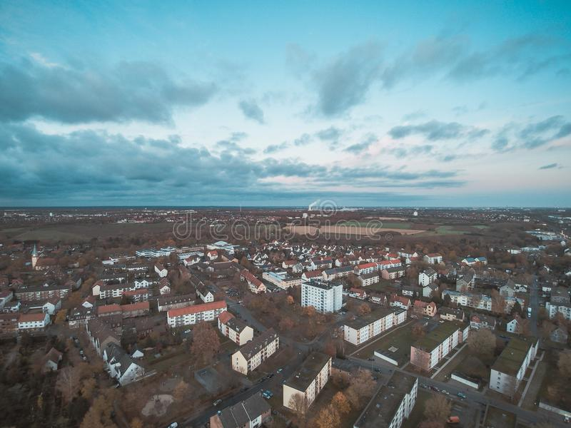 Seelze. City high angle view in Lower Saxony, Germany stock photo