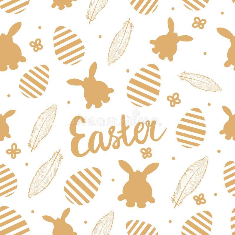 Seemöwe, die auf einem Flussrand steht Beschriftung mit gestreiften Eiern, Handzeichnende Federn, Kaninchenschattenbild Goldfarbe stock abbildung