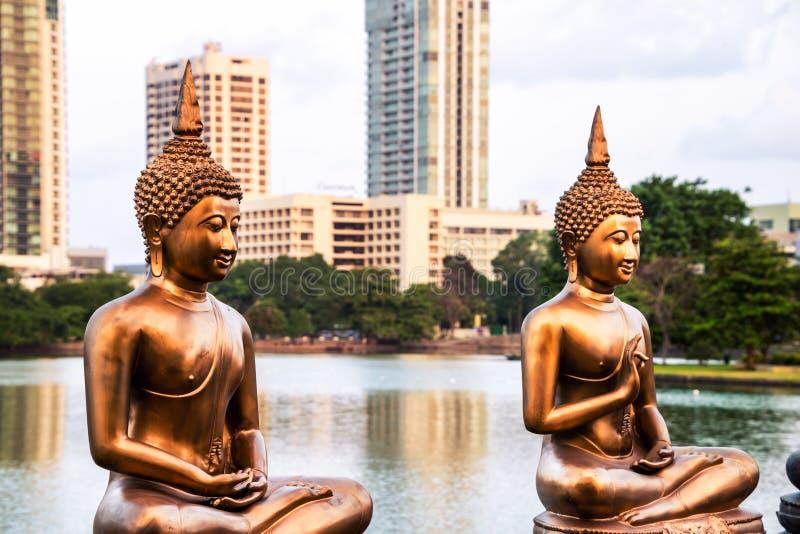 Seema Malaka temple on Beira Lake. Colombo stock image