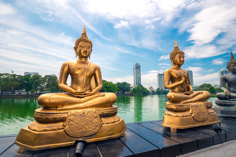 Seema Malaka Temple in Colombo is situated on Beira Lake stock photos