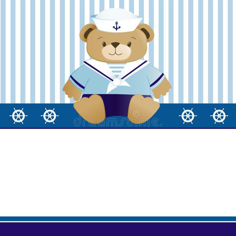 Seemann-Babyankunfts-Ansagenkarte lizenzfreie abbildung
