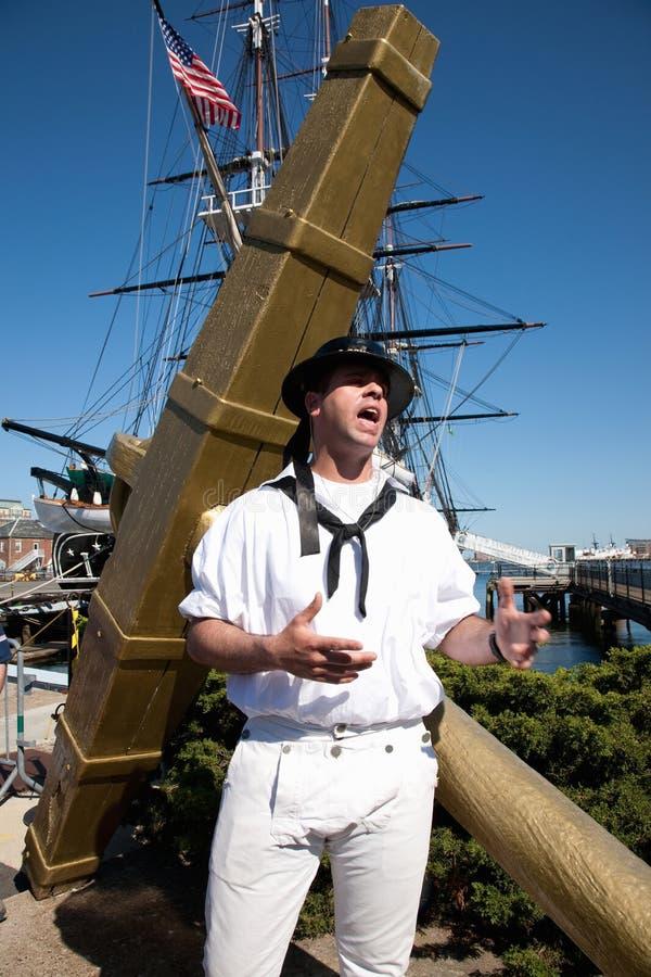 Seemann gekleidete im Jahre 1812 Uniform stockbild