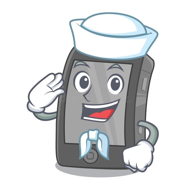 Seemann ipad, das in einer Maskottchentasche ist lizenzfreie abbildung