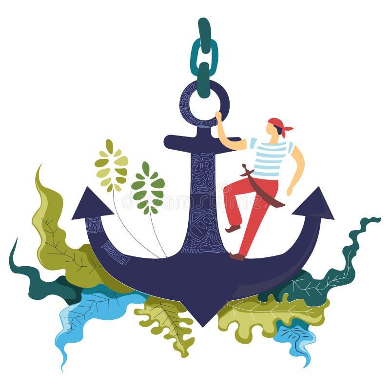 Seemann, Matrose mit dem Säbel, der auf dem Anker, Blumengrünmotiv-Konzeptkunst steht stock abbildung