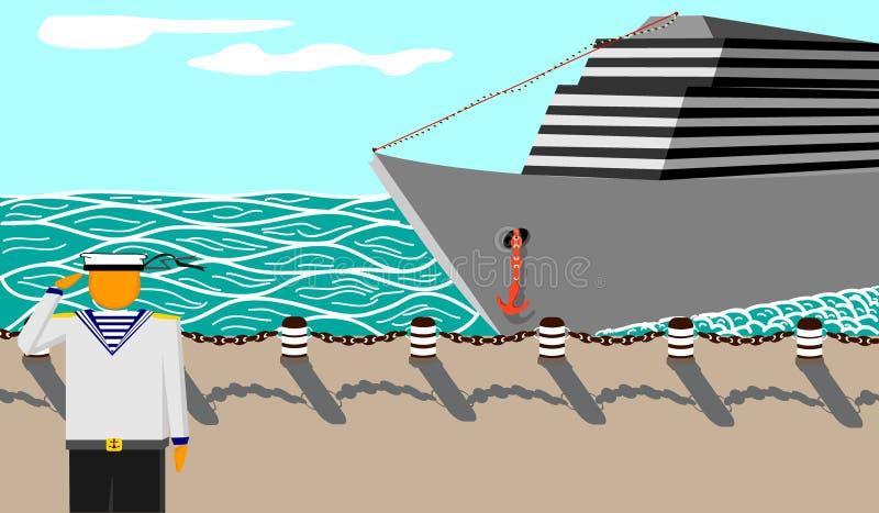 Seemann-und-Schiff stockbild