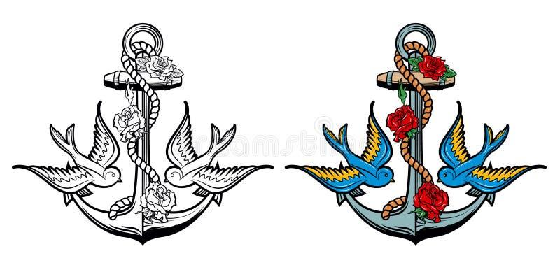 Seemanngeist Anker mit Rosen und Vögeln auf Schmutzhintergrund lizenzfreie abbildung