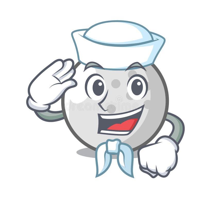 Seemanngolfball-Charakterkarikatur stock abbildung