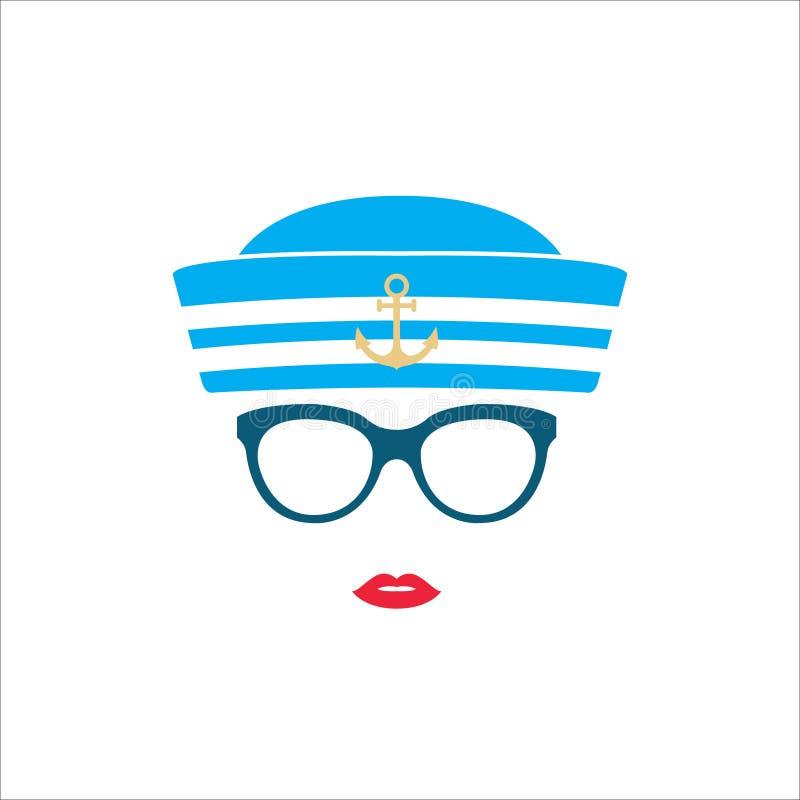 Seemannmädchen im blauen gestreiften Hut lizenzfreie abbildung