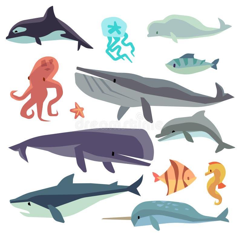 Seemeeresfisch und flacher Vektorsatz der Tiere vektor abbildung