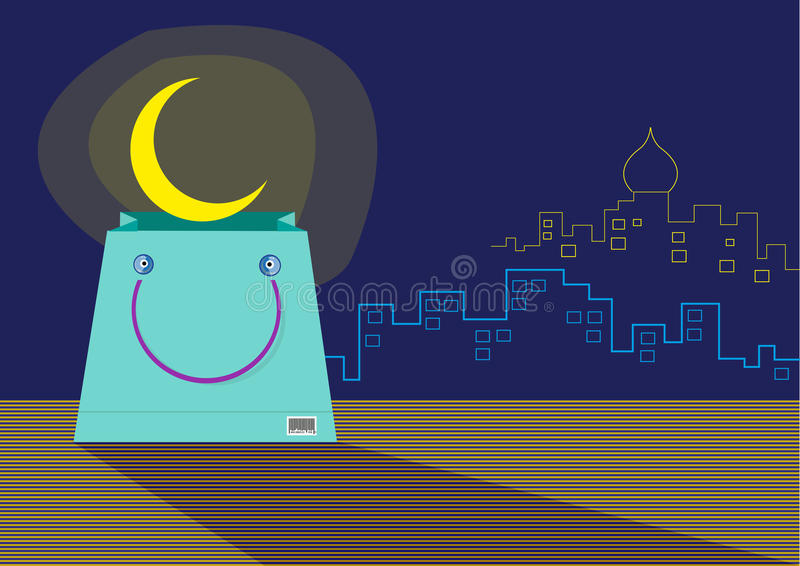 A seemingly Smiling Shopping Bag with an emerging Ramadan Moon. Editable clip art. stock illustration