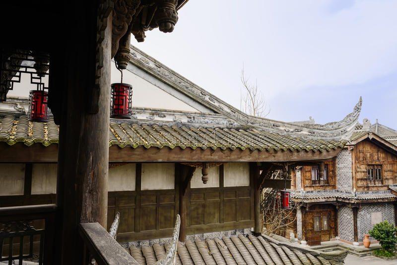 Seen from aged wooden tower,Chinese traditional buildings in clo stock image