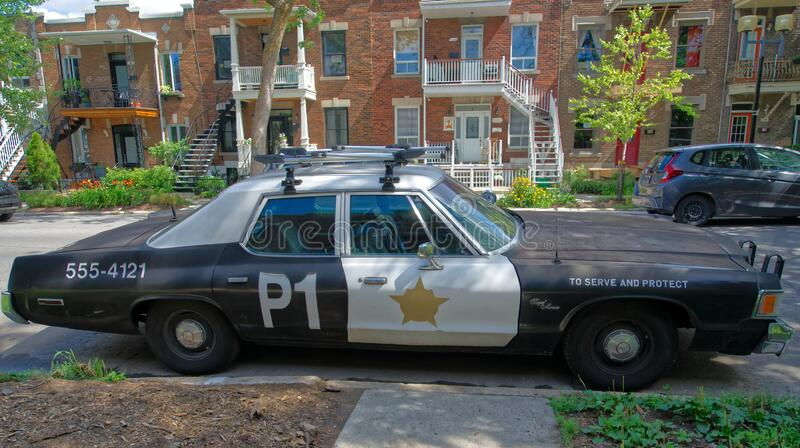 Old police car for films makers stock photos
