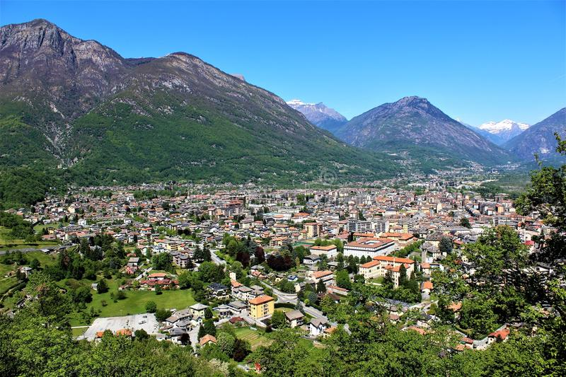 Seen from the Sacred Mount Calvary of Domodossola. royalty free stock images