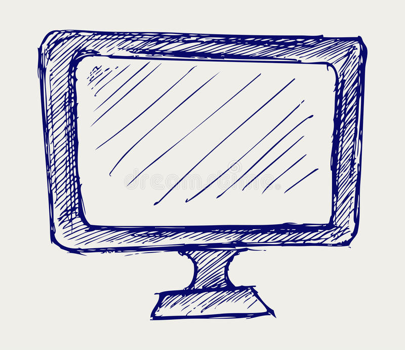 Seen on TV icon. Doodle style vector illustration
