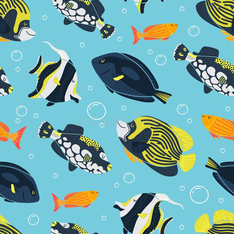 Seenahtloses Muster mit Fischen, Meerespflanze und Blasen unterwasser lizenzfreie abbildung