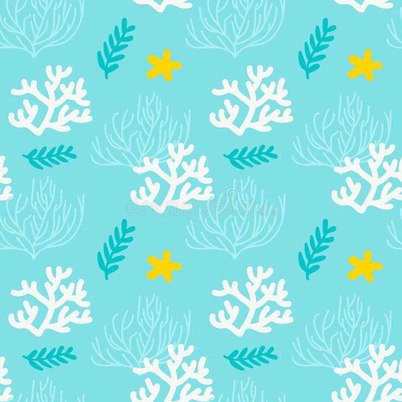 Seenahtloses Muster mit Korallen und Meerespflanze Blauer, weißer, gelber Hintergrund vektor abbildung
