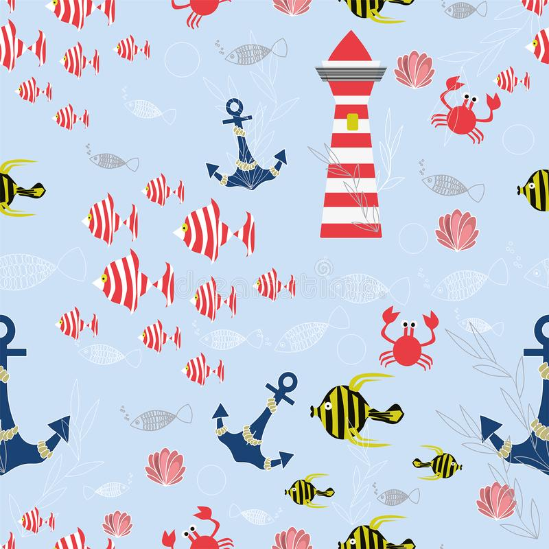 Seenahtloses Vektormuster mit gestreiften Fischen, Anker, Oberteile, Krabben, Leuchtturm, Seeanlagen auf dem blauen Hintergrund lizenzfreie abbildung